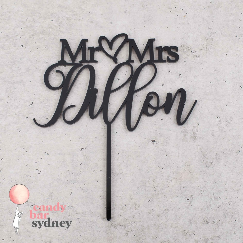 Mr & Mrs Personalised Wedding Cake Topper Style 2