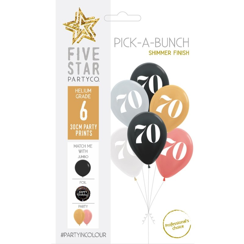70th Birthday Assorted 30cm Balloons 6pk
