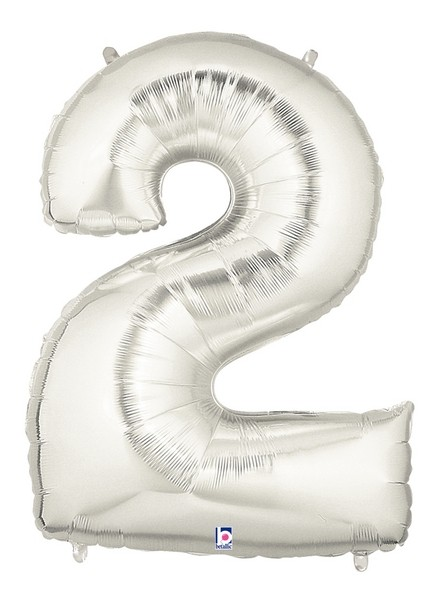 Silver Number 2 Foil Balloon 102cm