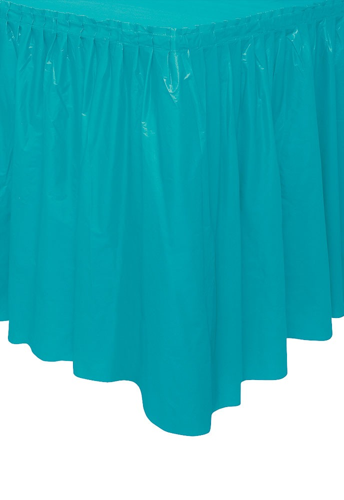 Carribean Teal Plastic Tableskirt