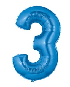 Blue Number 3 Foil Balloon 102cm