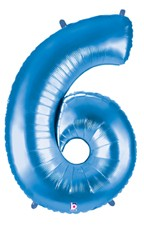 Blue Number 6 Foil Balloon 102cm