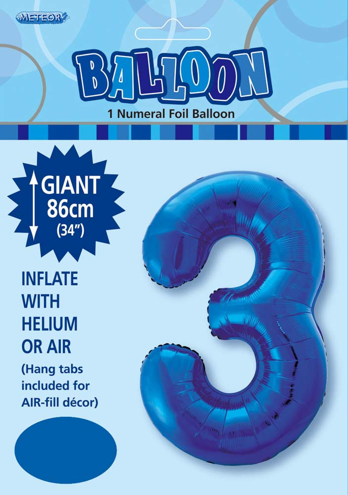 Blue Number 3 Foil Balloon 86cm