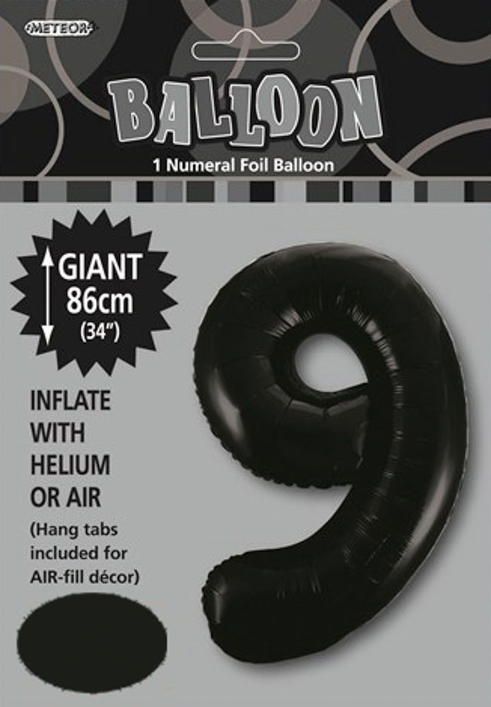 Black Number 9 Foil Balloon 86cm