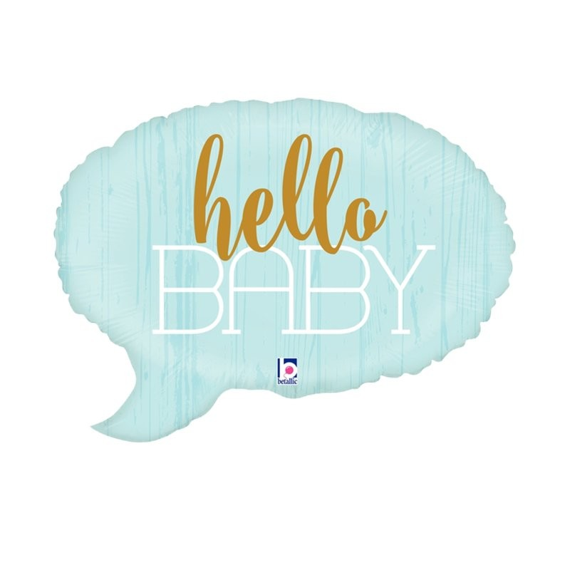 Blue Hello Baby Foil Balloon 61cm