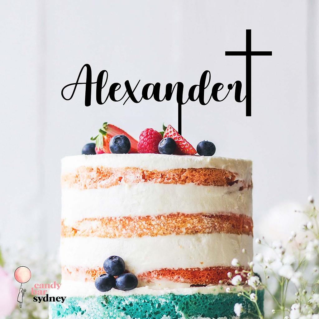 Name with Cross Baptism Custom Cake Topper