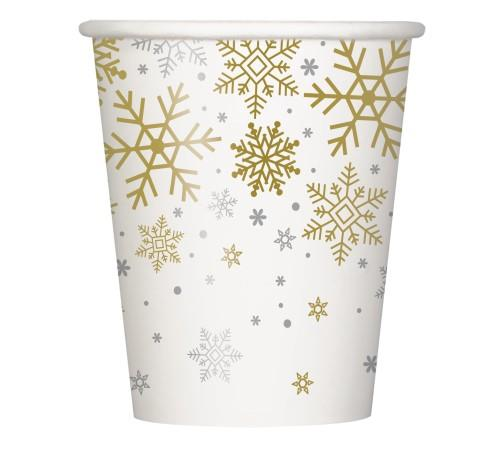 Silver and Gold Snowflake Paper Cups 8 Pack