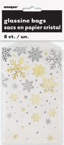 Silver and Gold Snowflake Gloss Treat Bags 8 Pack