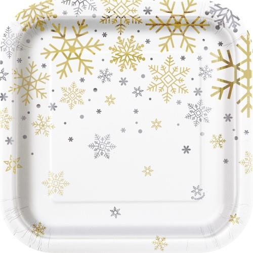 Silver and Gold Snowflake Foil Square Plates 8 Pack 18cm
