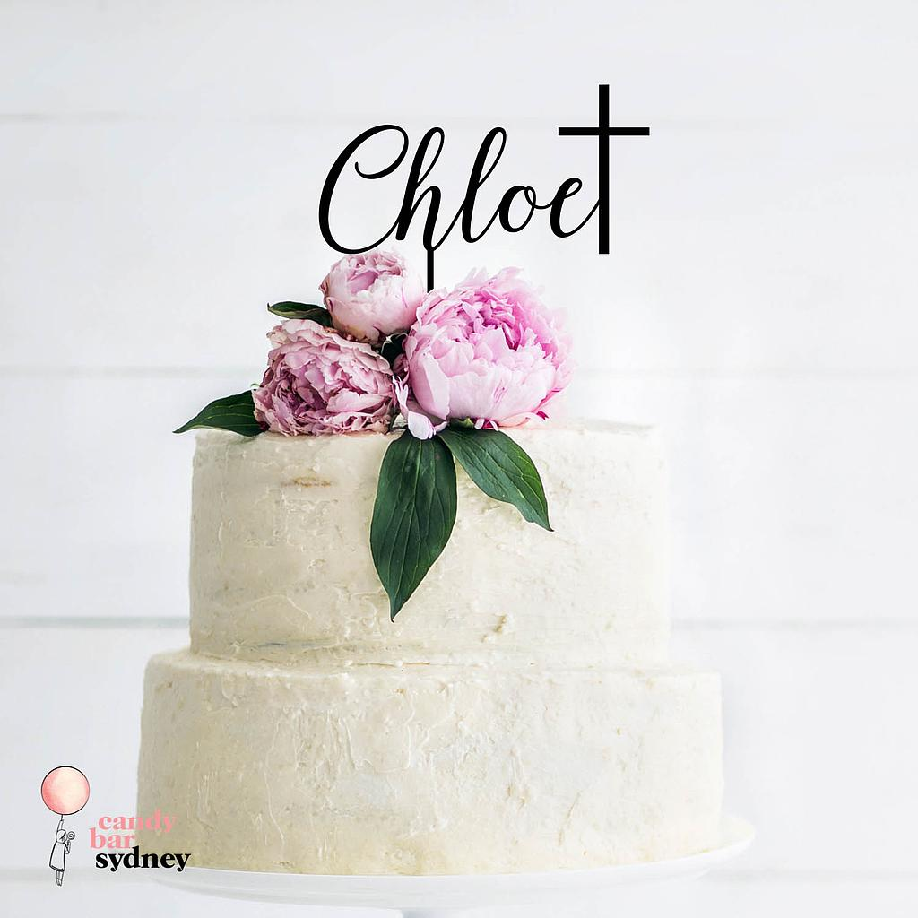 Name with Cross Baptism Custom Cake Topper Style 2