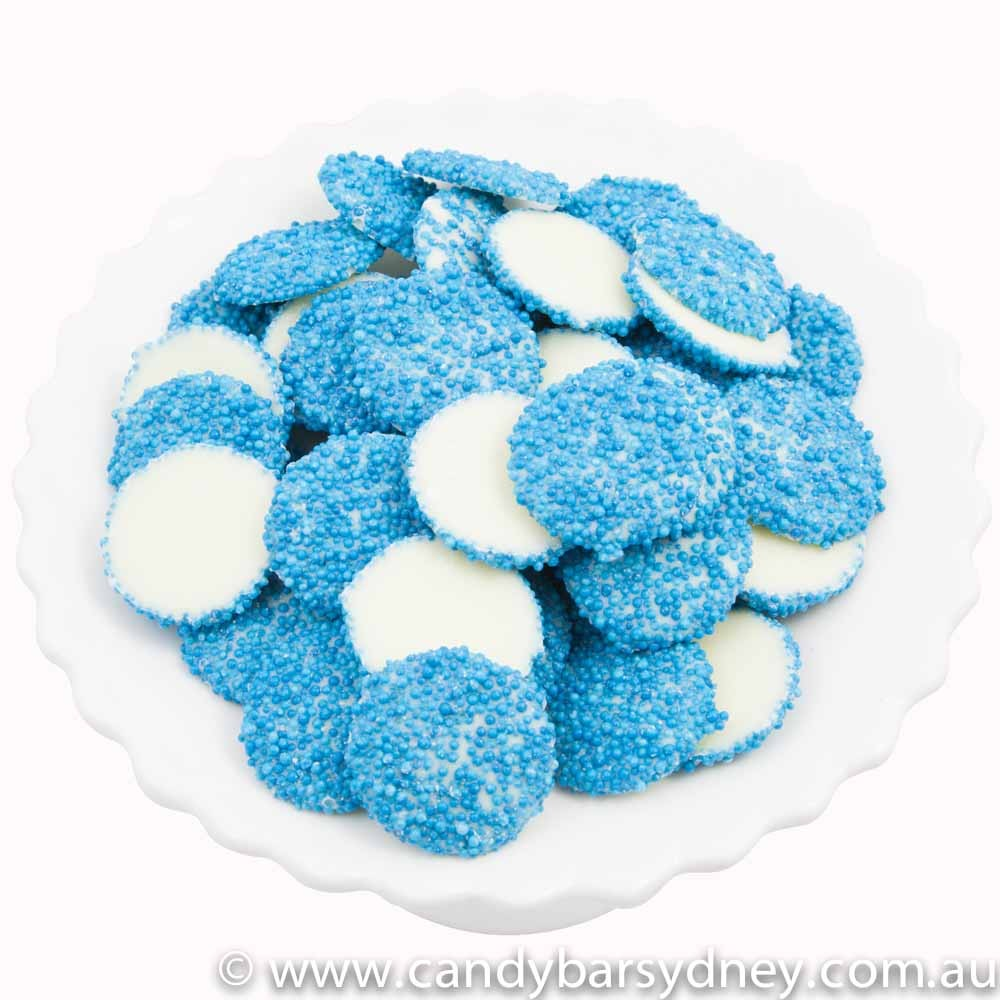 Blue Speckled White Choc Jewels