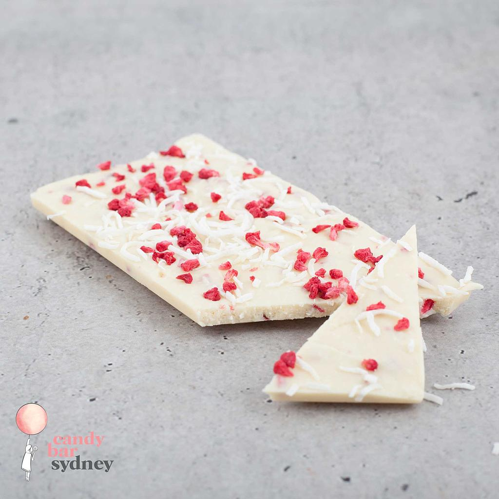 Raspberries & Cream White Chocolate Bar 80g