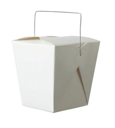 White Noodle Box with Handle 16oz - 50 pack