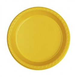 Yellow Plastic Snack Plate 20 pack