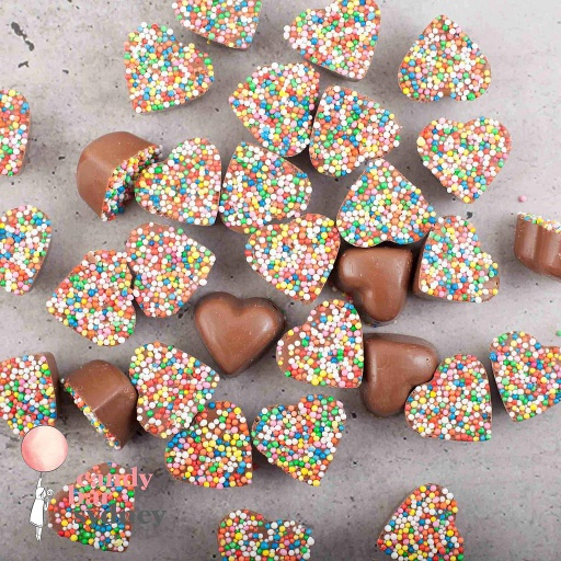 Belgian Milk Chocolate Rainbow Freckle Hearts
