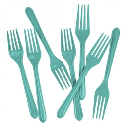 Turquoise Plastic Forks 25 pack