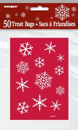 Red & White Sparkle Snowflake Cello Bags 50 pack