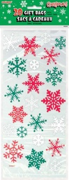 Red & Green Snowflake Cello Bags 20 pack