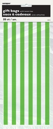 Green Stripe Cello Bags 20 pack