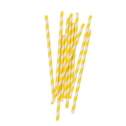 Yellow Stripe Straws 10 pack