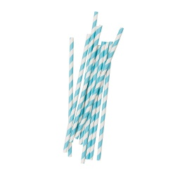 Pastel Blue Stripe Straws 10 pack