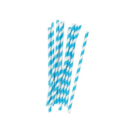 Electric Blue Stripe Straws 10 pack