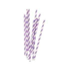 Lilac Stripe Straws 10 pack