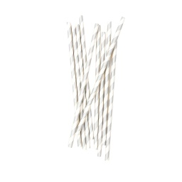 Silver Stripe Straws 10 pack