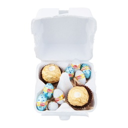 White Egg Carton with Blue Easter Eggs