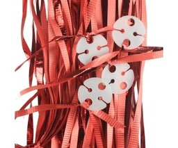 Metallic Apple Red Pre-Tied Ribbons With Clips