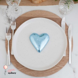 Ice Blue Belgian Chocolate Heart Bonbonniere