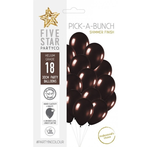 Shimmer Chocolate 30cm Latex Balloons 18pk