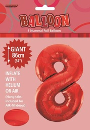 Red Number 8 Foil Balloon 86cm