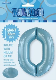 Light Blue Number 0 Foil Balloon 86cm