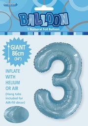 Light Blue Number 3 Foil Balloon 86cm