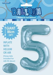 Light Blue Number 5 Foil Balloon 86cm
