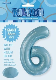 Light Blue Number 6 Foil Balloon 86cm