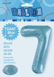 Light Blue Number 7 Foil Balloon 86cm