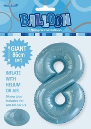 Light Blue Number 8 Foil Balloon 86cm