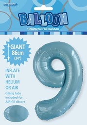 Light Blue Number 9 Foil Balloon 86cm