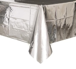 Metallic Silver Plastic Rectangle Tablecover