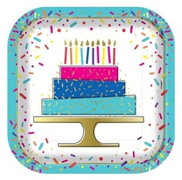 Birthday Cake Foil Stamped Square Plates