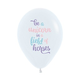 White 'Be A Unicorn' Latex Balloons