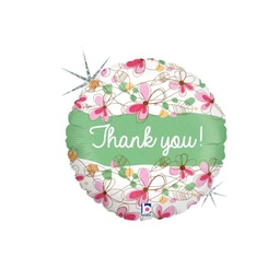 Round Floral Thank You Foil Balloon 46cm