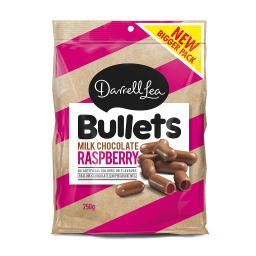 Darrell Lea Milk Chocolate Raspberry Bullets 250g