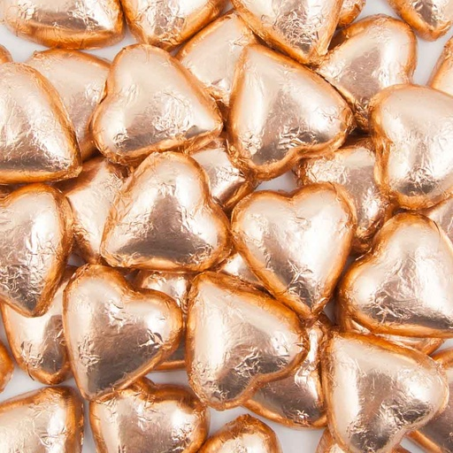 Rose Gold Belgian Chocolate Hearts 500g - 5kg