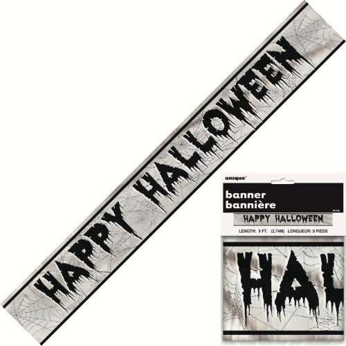 Silver Happy Halloween Foil Banner 2.7m