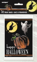Ghostly Happy Halloween Trick or Treat Bags 50 Pack