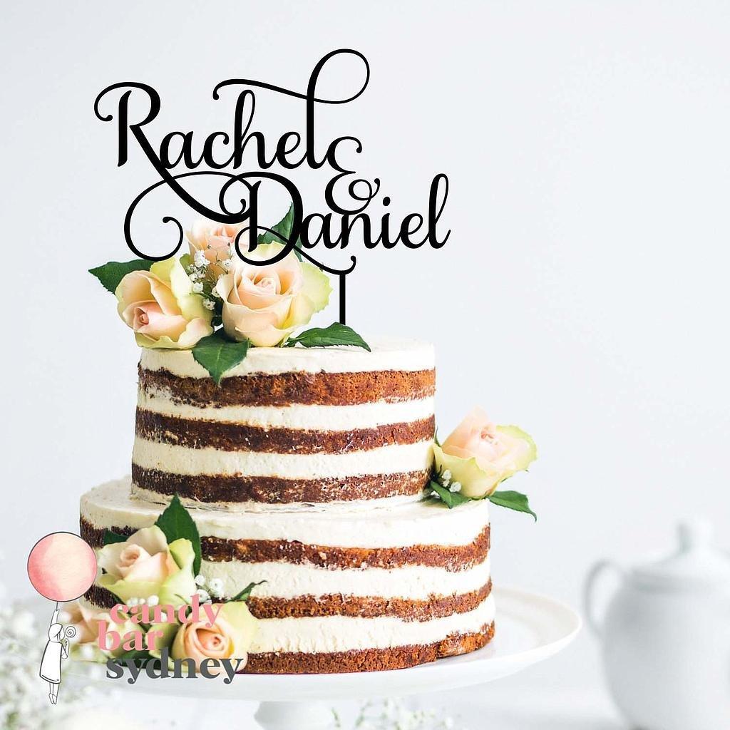 Custom Couple Names Wedding Cake Topper Style 2 Candy Bar Sydney