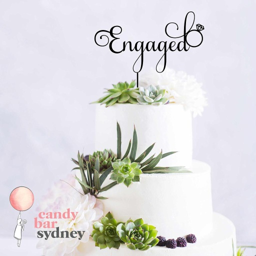Engaged Cake Topper With Ring